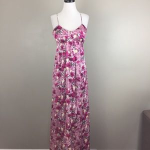 Banana Republic Monogram Floral Silk Maxi Dress